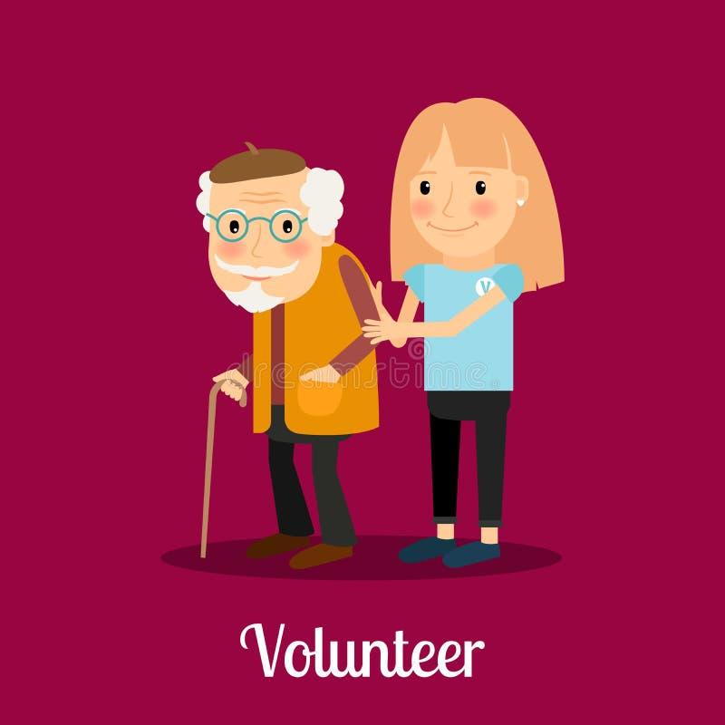 Volunteer girl caring for elderly man royalty free illustration