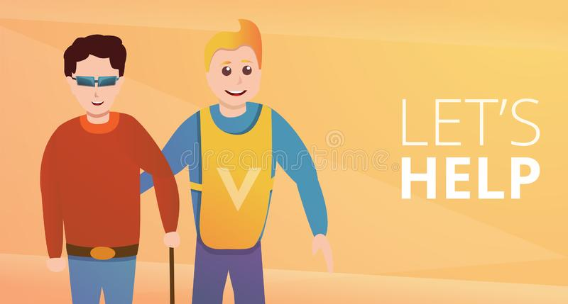 Volunteer lets help concept banner, cartoon style vector illustration