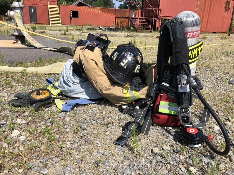 Firefighter gear after the call royalty free stock photography
