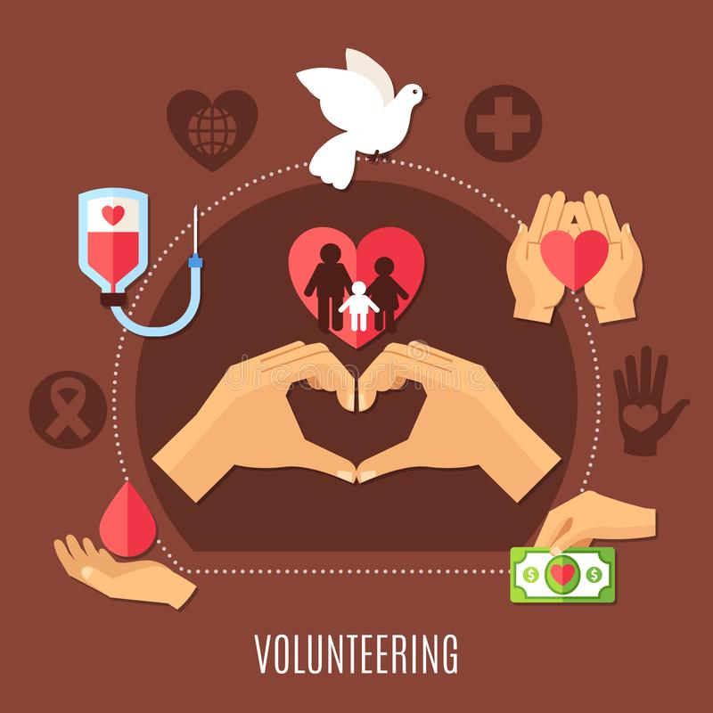 Volunteer Services Charity Composition. Charity round composition with image of human hands love gesture and heart icons with medical silhouette symbols vector royalty free illustration