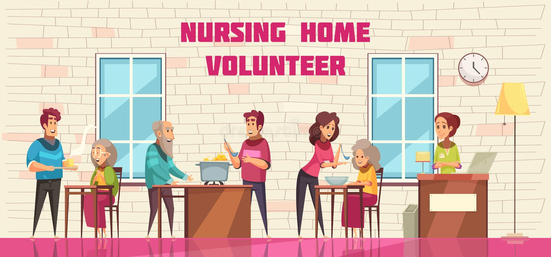 Nursing Home Volunteers Banner royalty free illustration