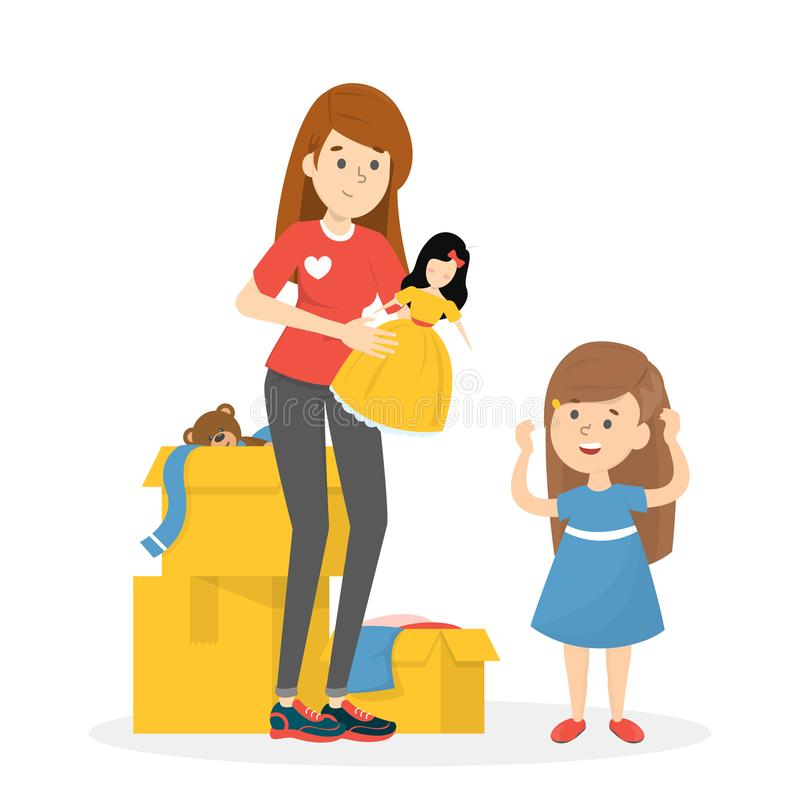 Volunteer standing around box full of toys and holding a doll stock illustration
