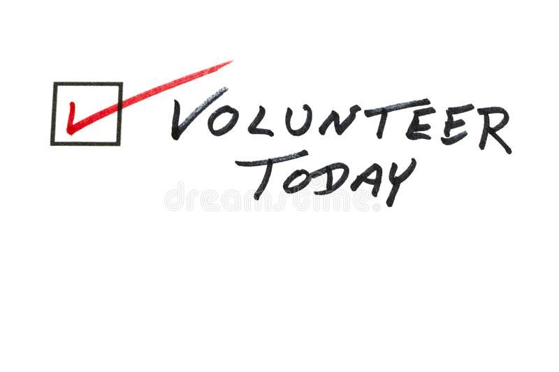 Volunteer today message helping hand royalty free stock images