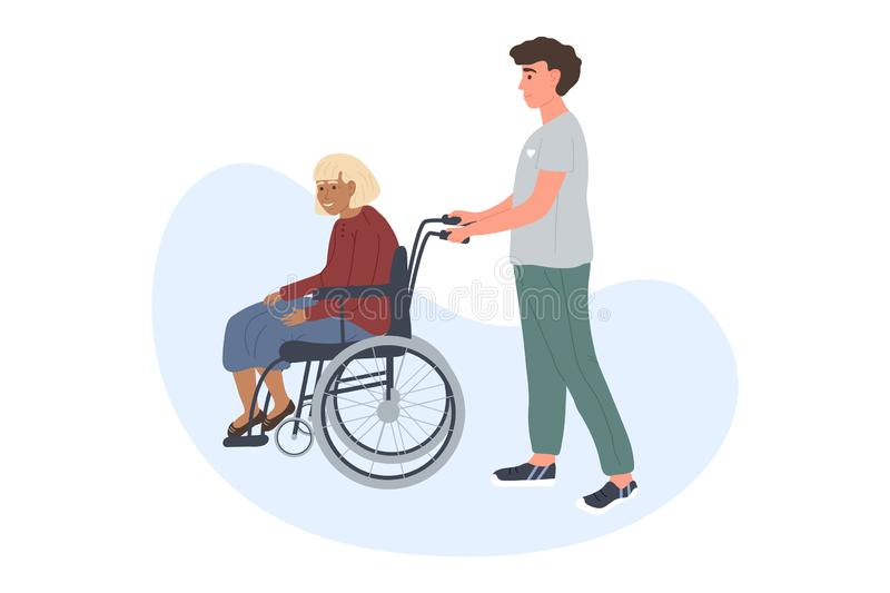 Volunteer young man is walking an older grey haired woman on a wheelchair. 5 December the International Volunteer Day stock illustration