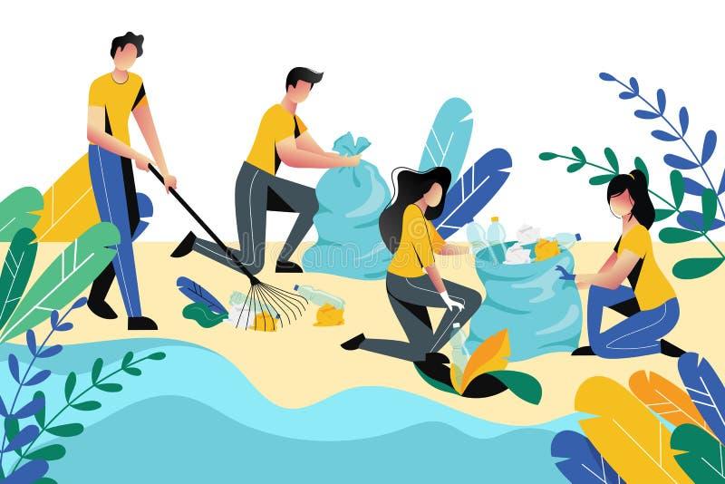 Volunteering, charity social concept. Volunteer people cleaning garbage on beach area or city park, vector illustration. Volunteering, charity social concept royalty free illustration