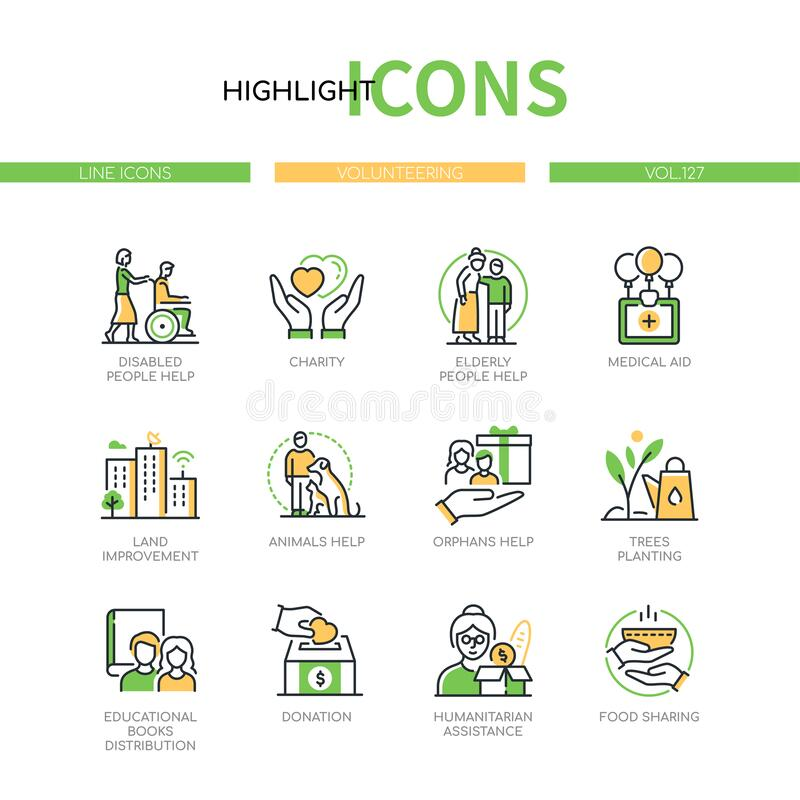 Free Volunteering Concept - Line Design Style Icons Set Stock Image - 212426021