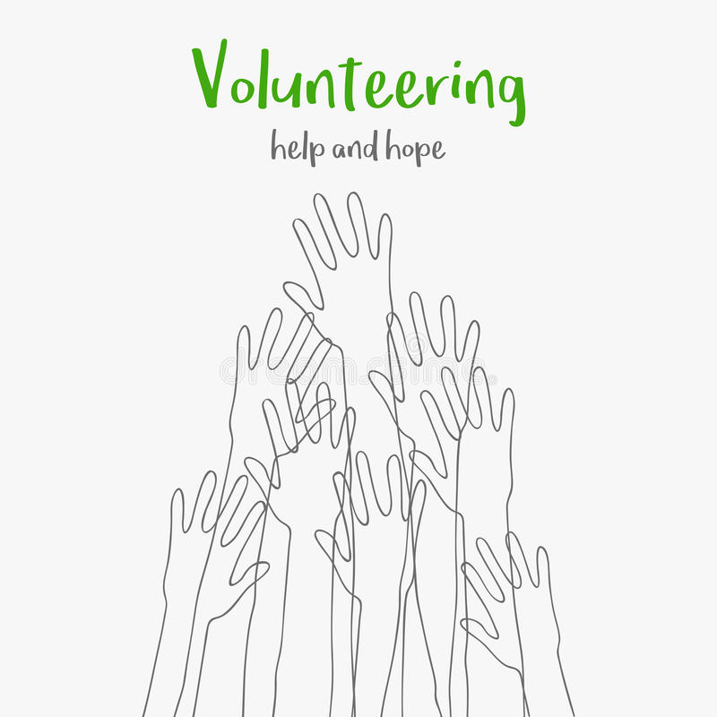 Volunteering concept.Message help and hope.Silhouettes raised up hands.Volunteering charity,concept of education royalty free illustration