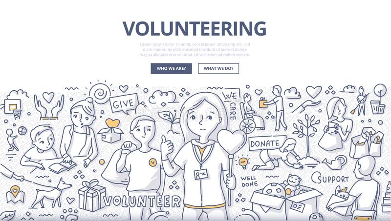 Volunteering Doodle Concept stock illustration