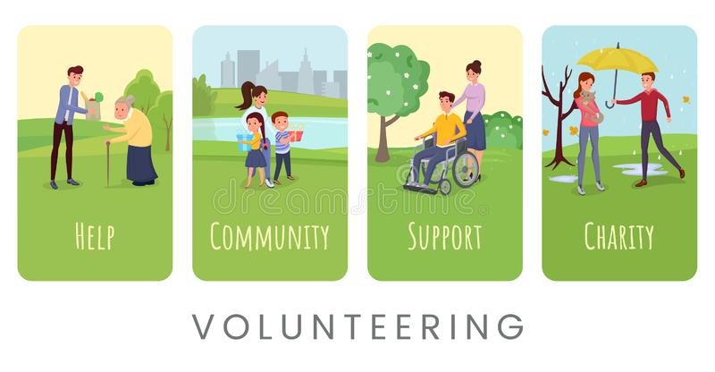 Volunteering flat vector banner templates set stock illustration