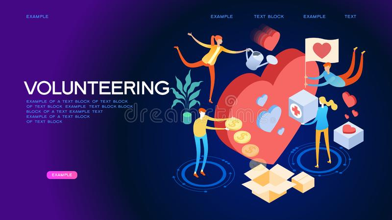 Volunteering isometric concept banner. Volunteering concept. A team of people shares hope and helps charity. Heart community support elder persons, poor and royalty free illustration
