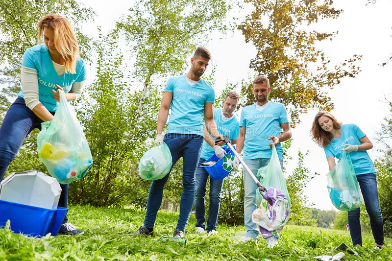 Volunteers clean a park. And collect waste for nature conservation stock photo