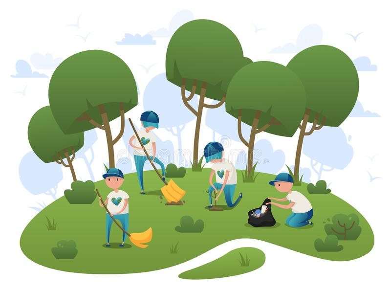 Volunteers clean up trash and plant trees in the park stock photography