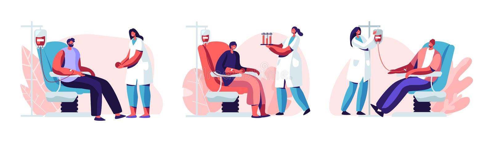 Volunteers Male Characters Sitting in Medical Hospital Chairs Donating Blood. Doctor Woman Nurse Take it in Test Flasks, Donation stock illustration