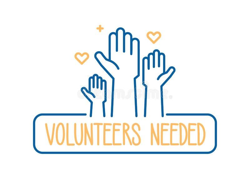 Volunteers needed banner design. Vector illustration for charity, volunteer work, community assistance. Crowd with hands raised. Volunteers needed banner design stock illustration