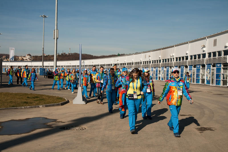 Volunteers in the Olympic Park. SOCHI, RUSSIA. FEBRUARY 07, 2014 - A large group of volunteers in the Olympic Park in Sochi royalty free stock photos