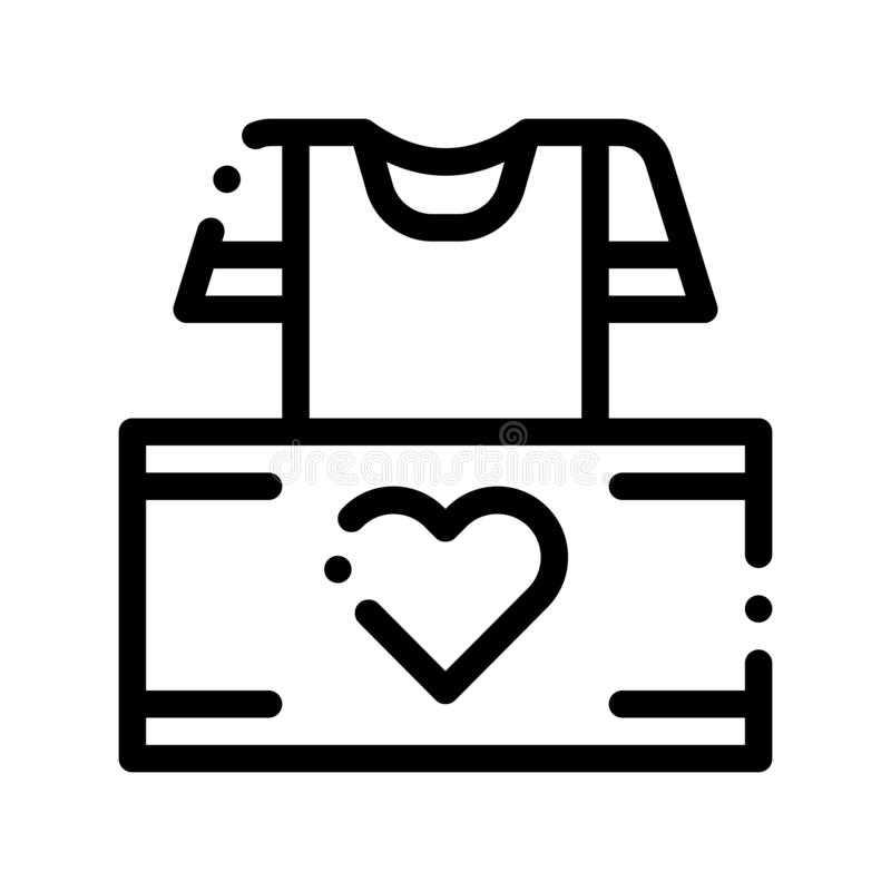 Volunteers Support Thing Box Vector Thin Line Icon. Volunteers Support, Help Charitable Organizations, Heart On Package With Clothing T-shirt Linear Pictogram vector illustration