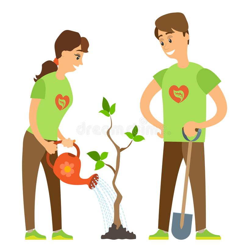 Gardening Plant, Watering Pot and Shovel Vector. Volunteers woman and man seedling and watering tree, people activists holding watering-pot and shovel, caring stock illustration