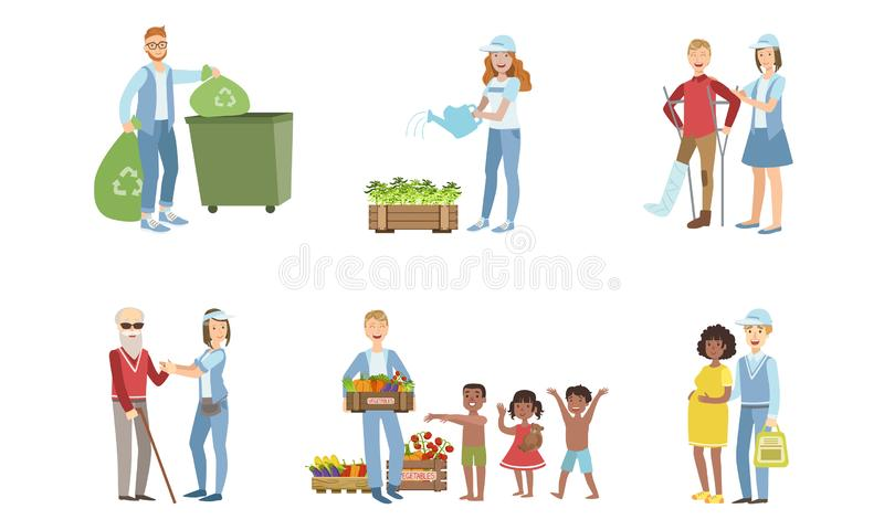 Volunteers at Work Set, Young Men and Women Collecting Garbage, Watering Plants, Helping Disabled and Elderly People. Feeding Hungry and Needy Kids Vector vector illustration
