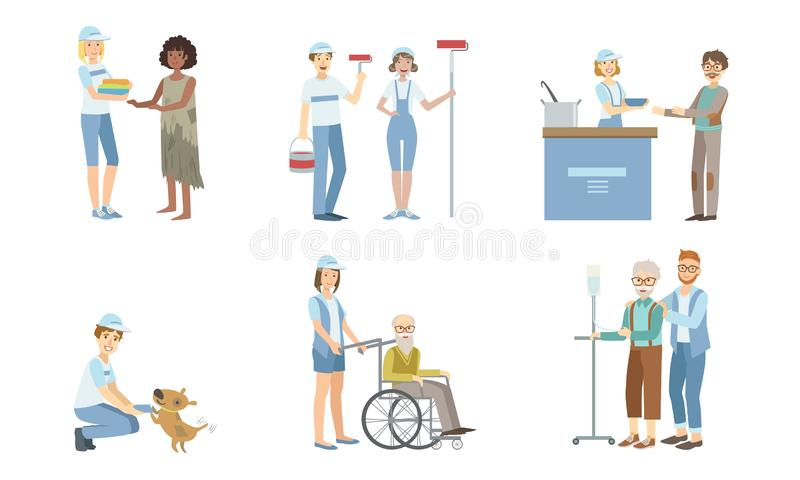 Volunteers at Work Set, Young Men and Women Helping Disabled Person and Homeless, Supporting Elderly People Vector. Illustration on White Background stock illustration