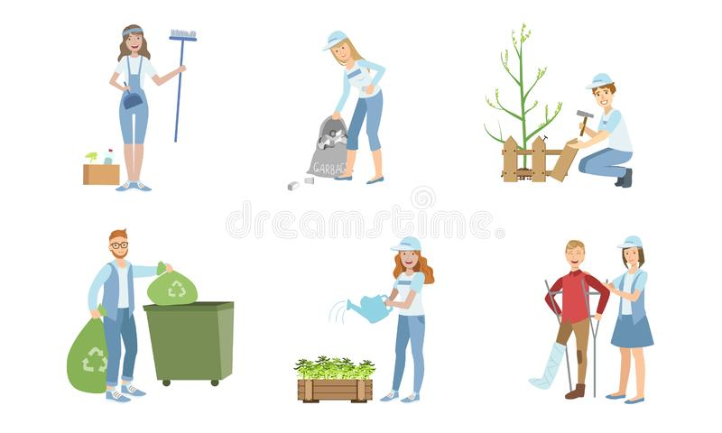 Volunteers at Work Set, Young Men and Women Planting Trees, Collecting Garbage, Watering Plants, Helping Disabled People. Vector Illustration on White royalty free illustration