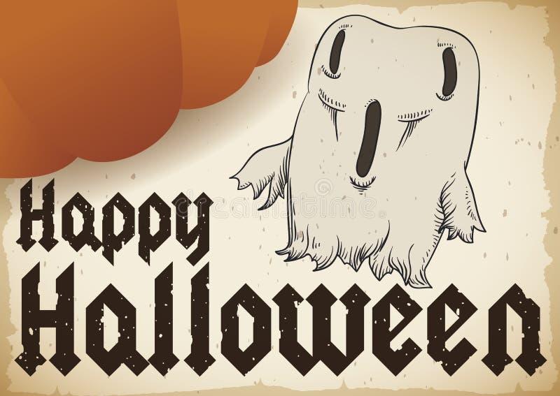 Voluta con el drenaje sorprendido y la calabaza de Halloween del gigante, ejemplo del fantasma del vector ilustración del vector