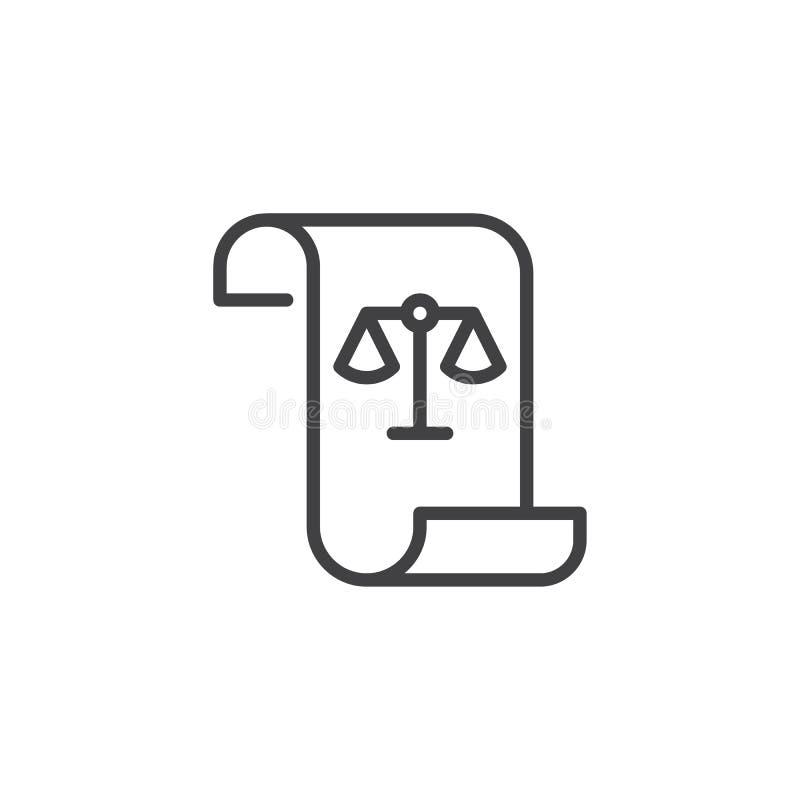 Voluta de papel con el icono del esquema de la balanza de la ley ilustración del vector