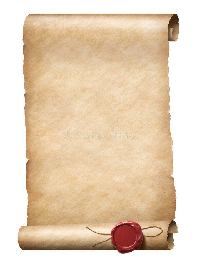 Voluta de Parhment con el sello real de la cera imágenes de archivo libres de regalías