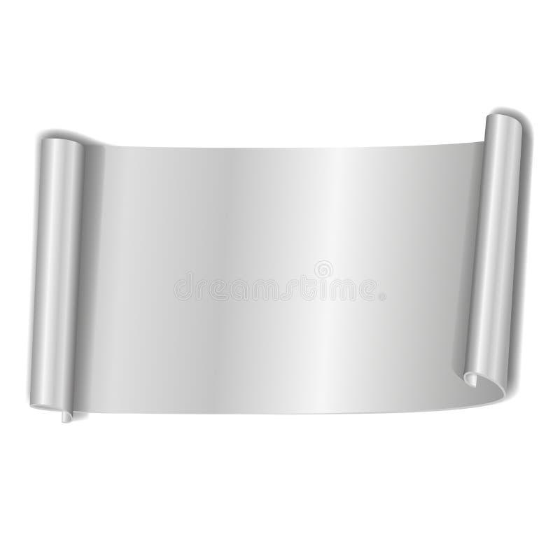 Voluta de plata aislada en el fondo blanco Bandera de papel gris 3D del rollo Diseño de la cinta para el marco de la Navidad, Año stock de ilustración
