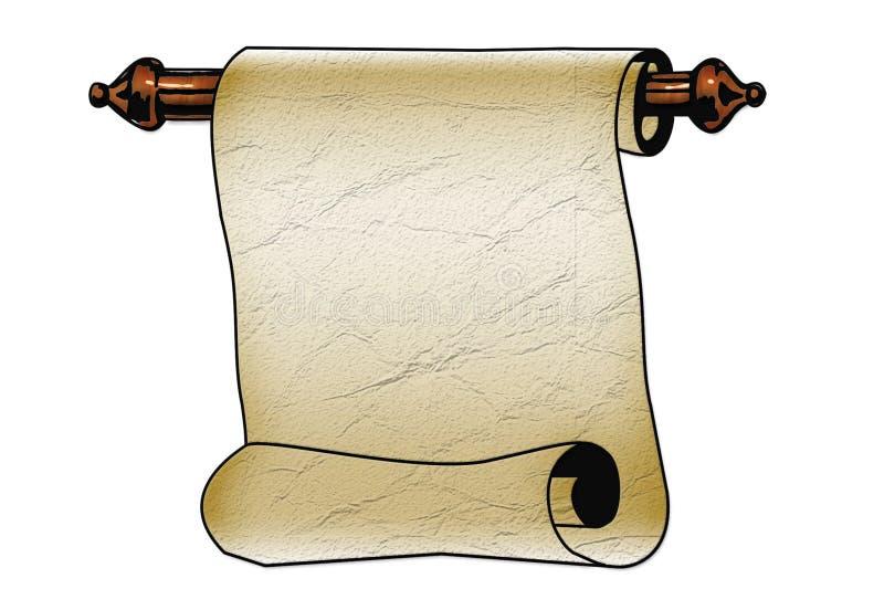 Voluta del papel con los bordes rasgados aislados en blanco stock de ilustración
