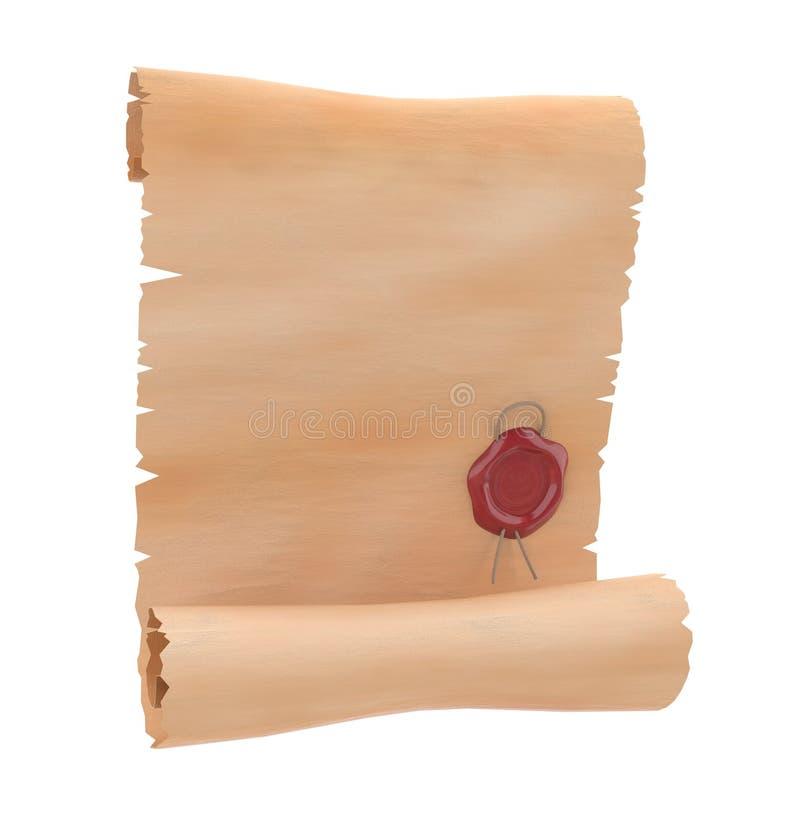Voluta del pergamino con el sello rojo de la cera Papel en blanco ejemplo de la representación 3d aislado stock de ilustración