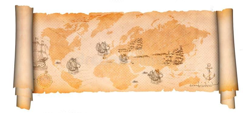 Voluta medieval del pergamino con el mapa antiguo stock de ilustración