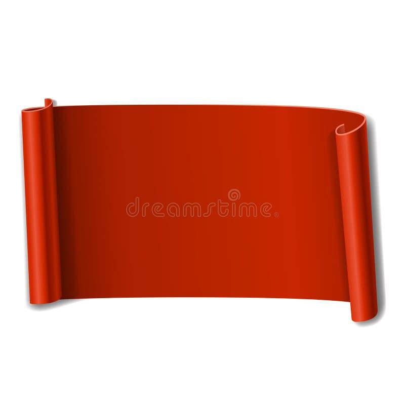 Voluta roja aislada en el fondo blanco Bandera de papel 3D del rollo Diseño de la cinta para el marco de la Navidad, decoración d ilustración del vector