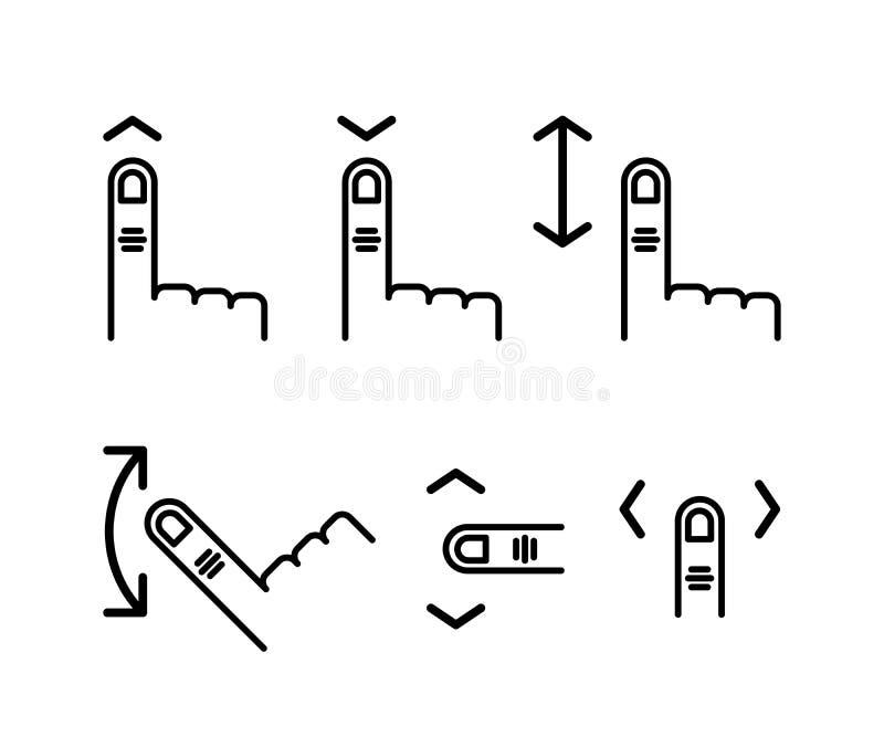 Voluta a través de la pantalla táctil Mano con el dedo índice y abajo encima de la flecha Sistema linear del icono Línea con edit libre illustration