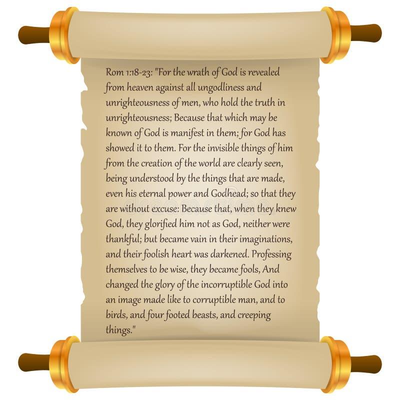 Voluta vieja con el texto de la biblia Pergamino realista Voluta del papel en blanco del vintage aislada en el fondo blanco Ilust stock de ilustración