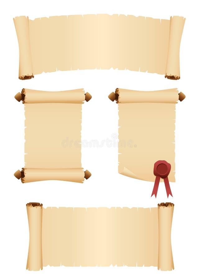 Volutas del pergamino Conjunto de banderas del vector fotos de archivo
