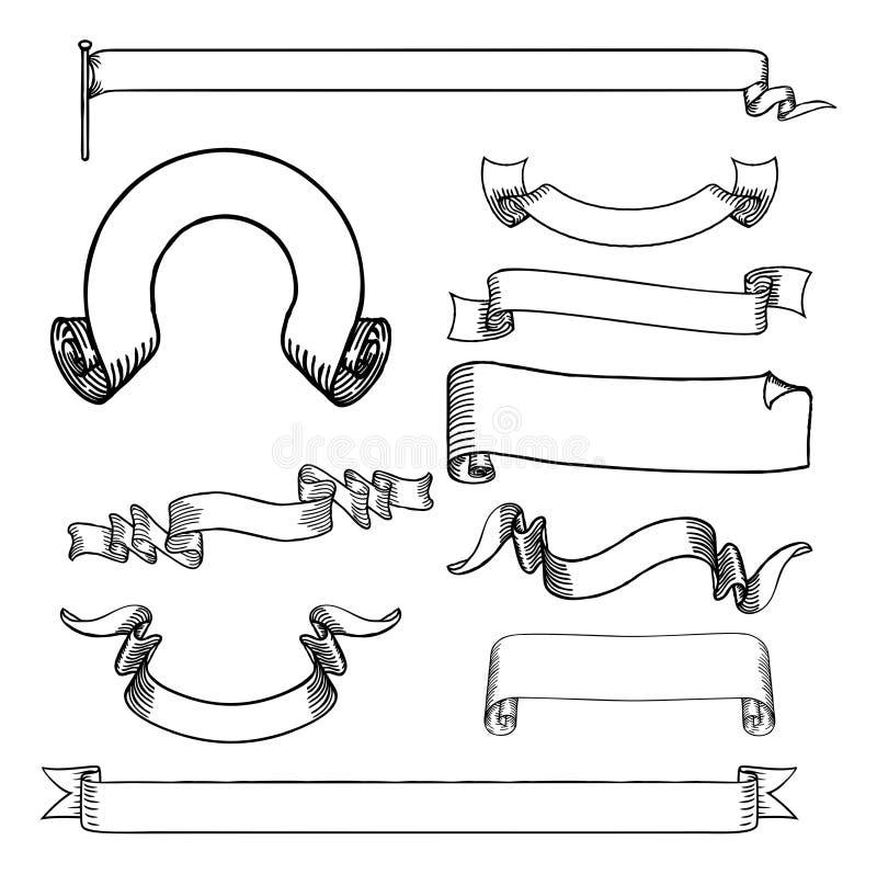 Volutas y banderas de las cintas fijadas libre illustration