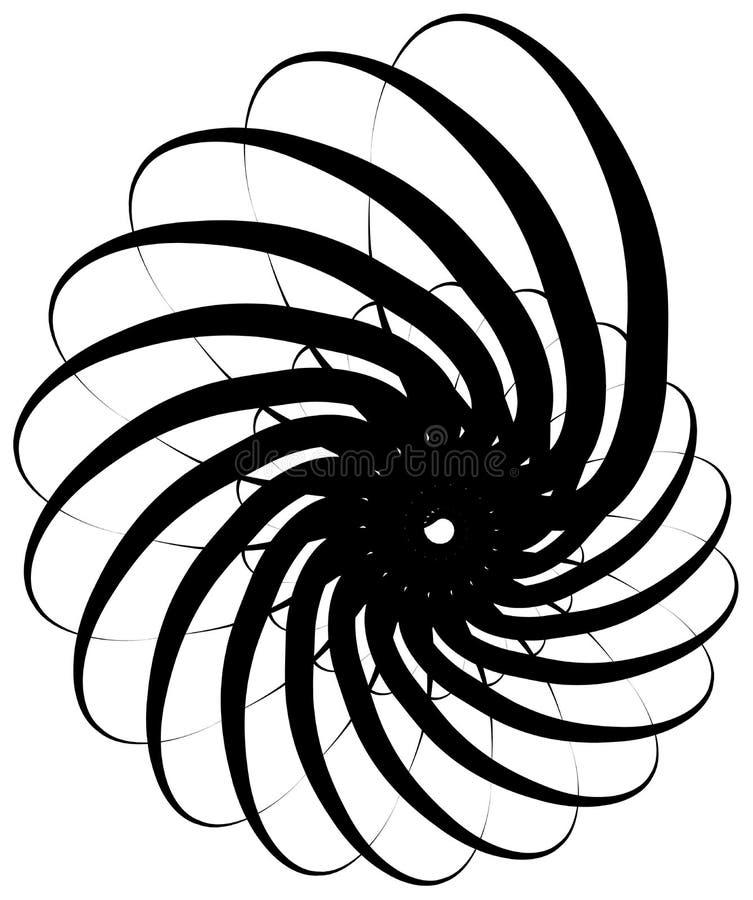 Volute espiral, forma do caracol, elemento Giro, rodopiando o sumário ilustração do vetor