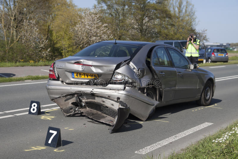 Volvo car involved in an accident stock photography