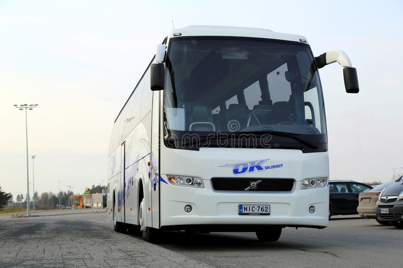 Modern Volvo Coach Bus Waiting For Passengers Editorial