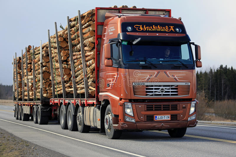 Volvo FH Birch Timber Haul on Highway royalty free stock photos