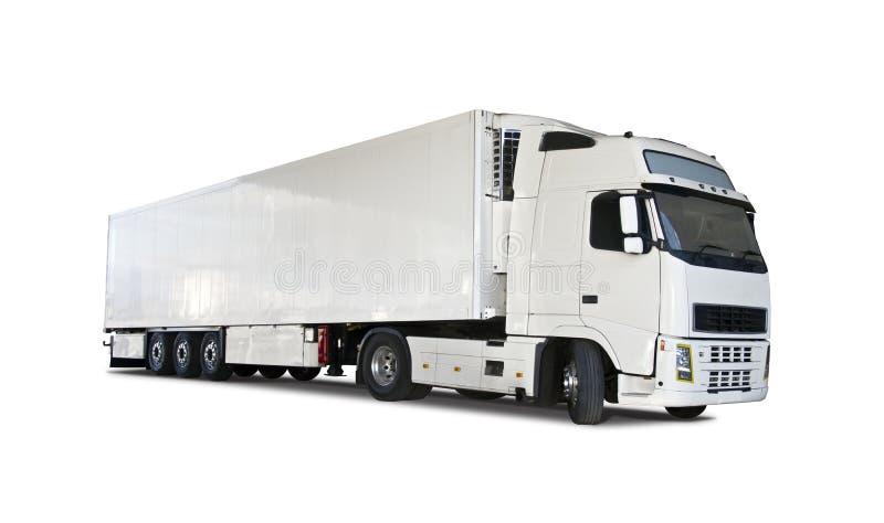 Volvo lastbil och släp som isoleras på vit royaltyfri fotografi
