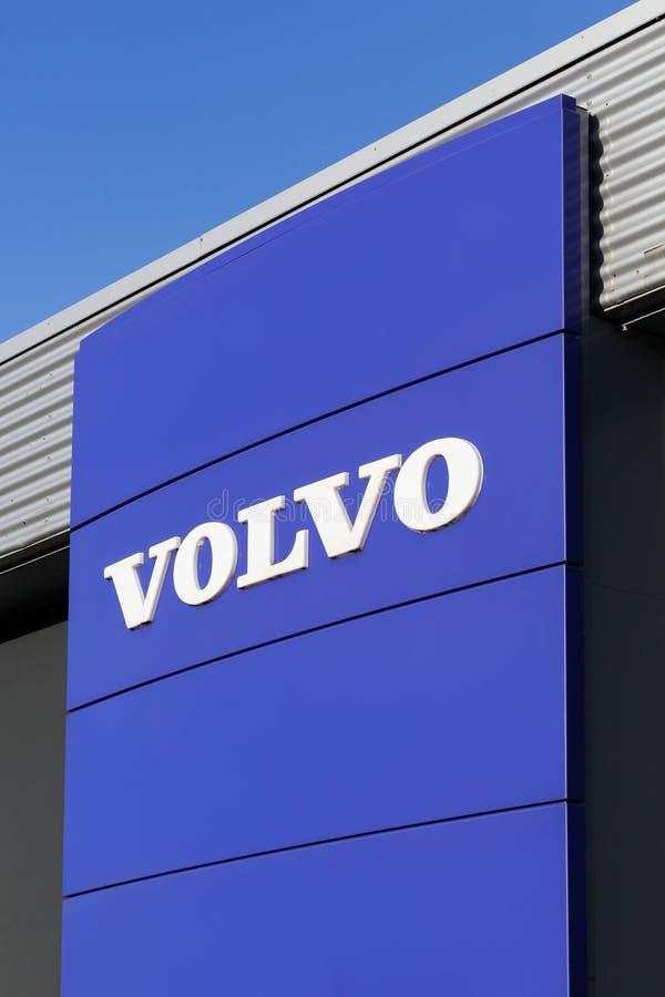 Volvo logo on a wall stock photos