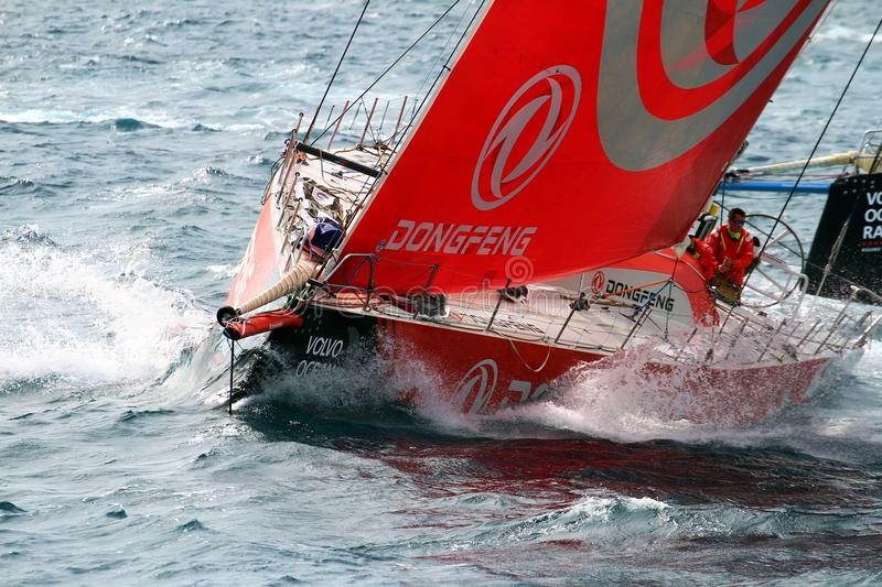 Volvo Ocean Race 2017-18. Previous moments during the Sunday to start the VOR 2017 race around the world with Team Dongfeng training stock photography