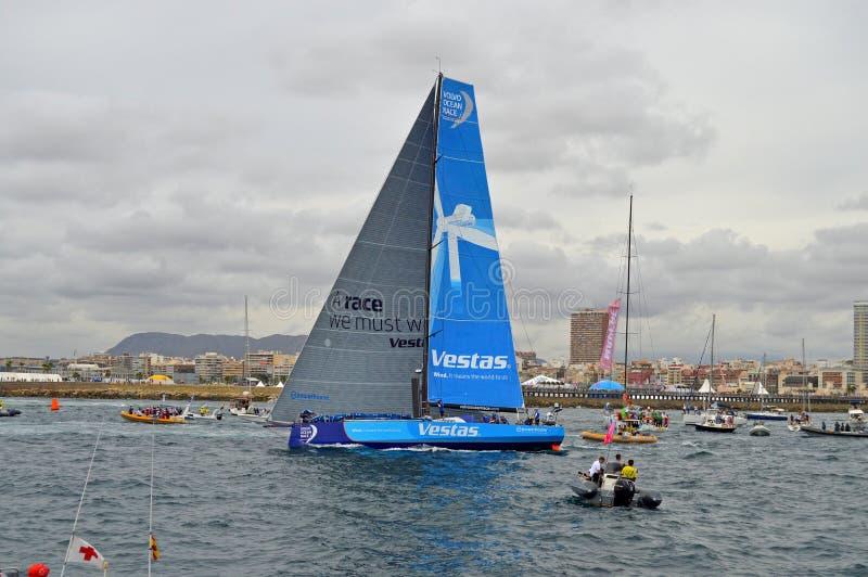 Volvo oceanu rasy drużyny Vestas wiatr Odjeżdża zdjęcie stock