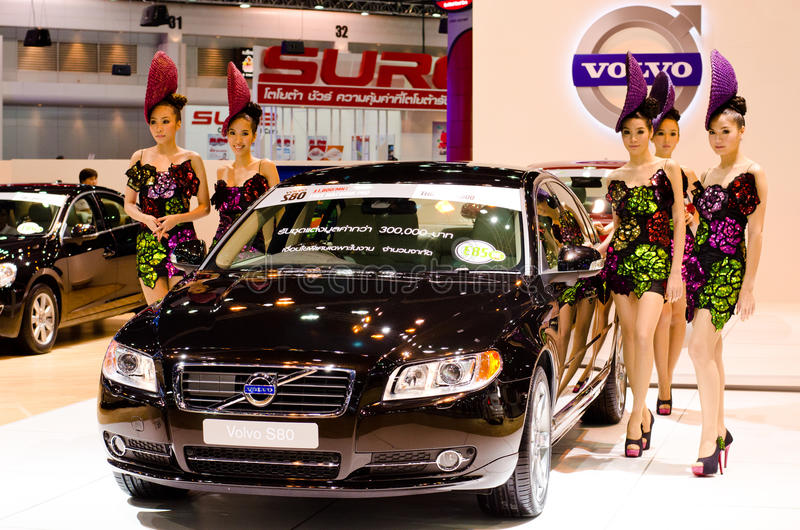 Volvo S80 car. BANGKOK - DECEMBER 3: Volvo S80 car with unidentified model on display at the 28th Thailand International Motor Expo on December 3, 2011 in royalty free stock photography
