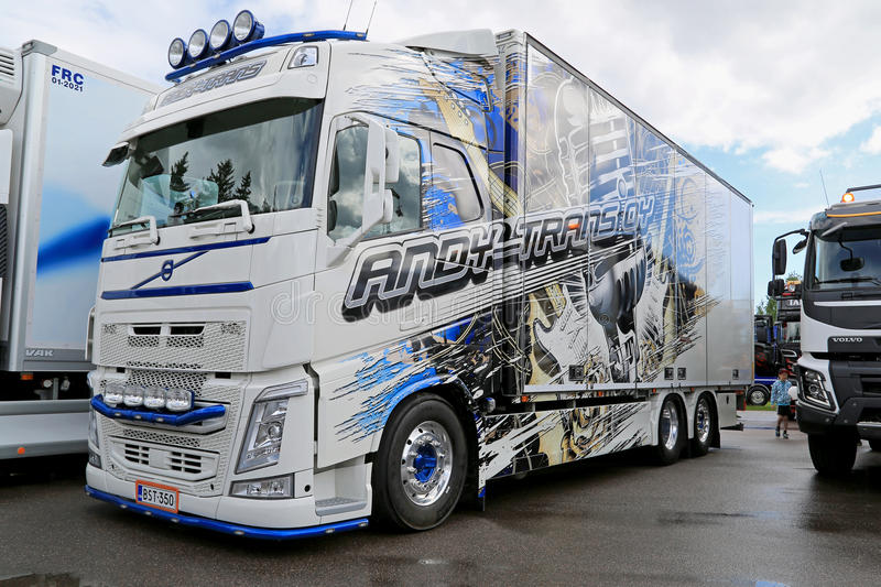 Volvo Truck of Andy Trans Oy at Riverside Truck Meeting. PORVOO, FINLAND - JUNE 27, 2015: Volvo truck of Andy Trans Oy on display at Riverside Truck Meeting 2015 stock photo