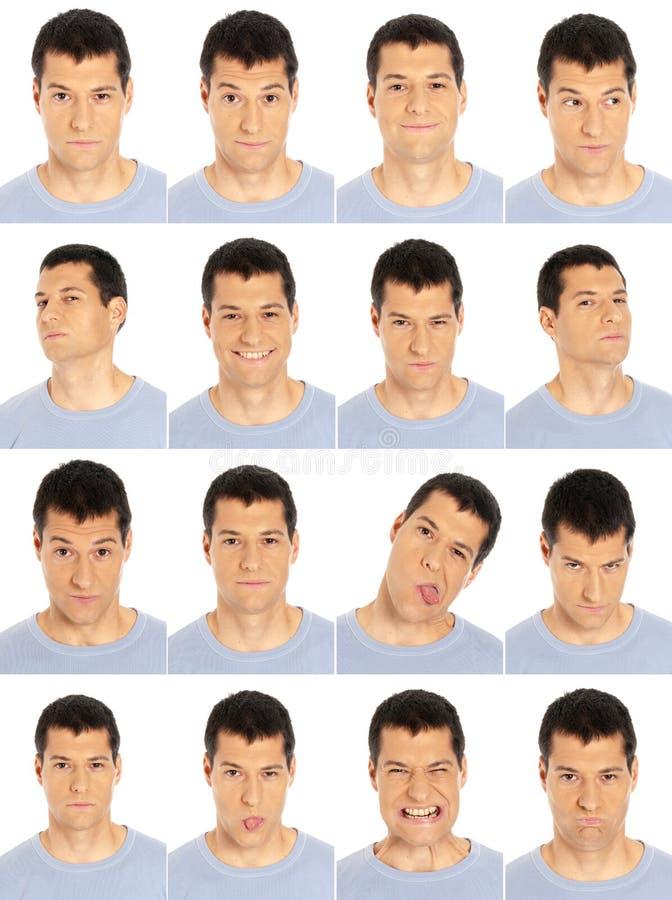 Volwassen de uitdrukkingensamenstelling van het mensengezicht die op w wordt geïsoleerd stock foto's