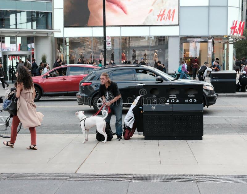 Volwassen die mannetje met zijn huisdierenhond wordt gezien in een Amerikaanse stad stock fotografie