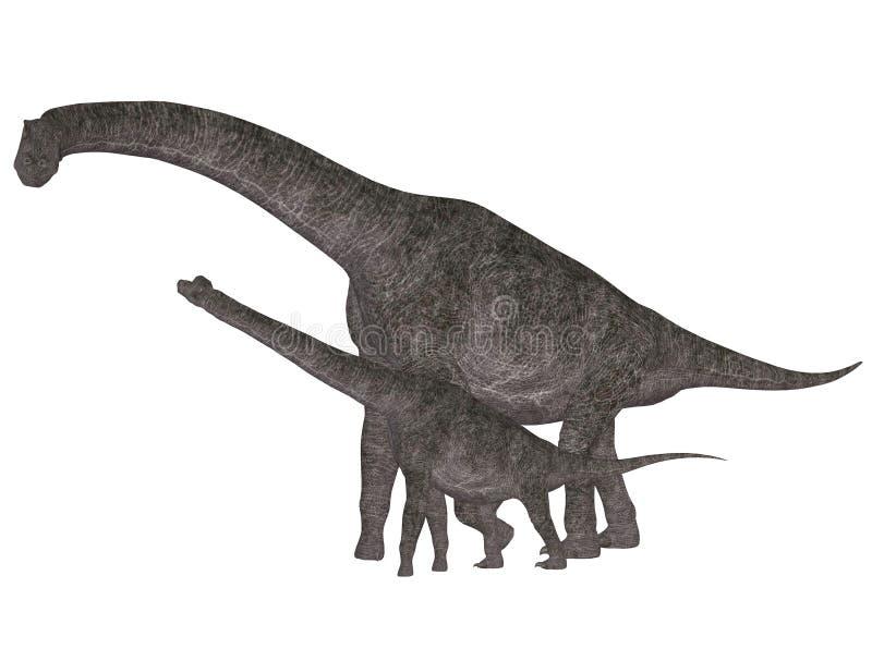 brachiosaurus die zich op achterste benen bevindt stock