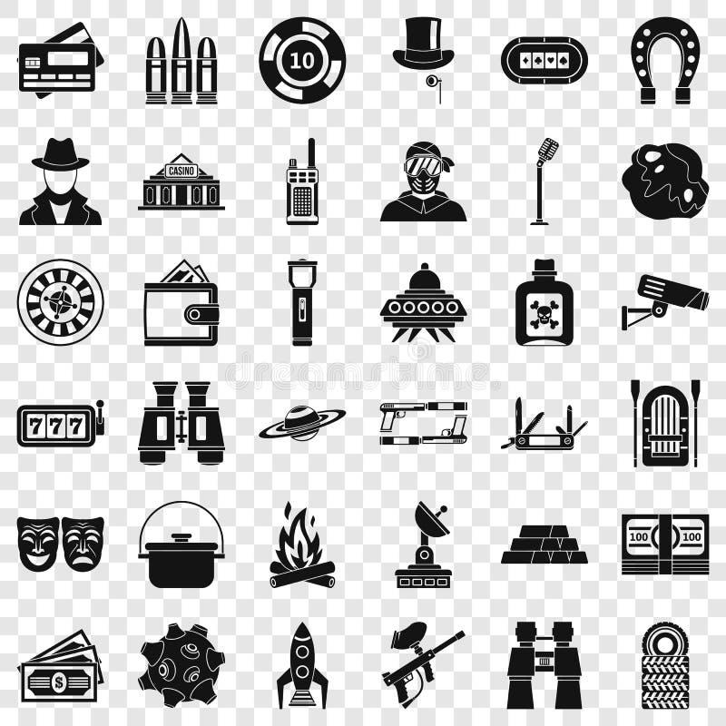 Volwassen geplaatste spelenpictogrammen, eenvoudige stijl vector illustratie